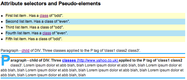 CSS 2.1 pseudo-element selector, first-letter