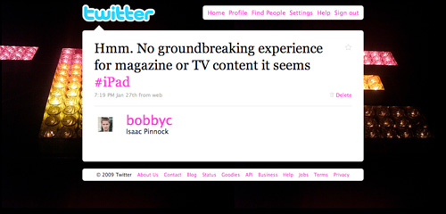 tweet: no groundbreaking experience for magazine or TV content it seems