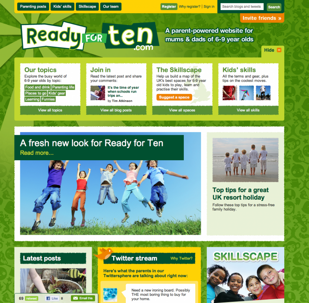 Ready for Ten homepage